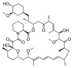 The structure of rapamycin, also known as Sirolimus