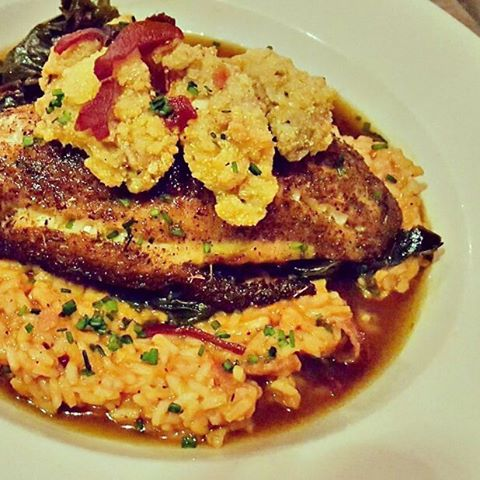Blackened Grouper red rice, country fried ham, braised collards, fried oysters  Enjoy this #weekendspecial for #dinner at #onfortyone 4-10