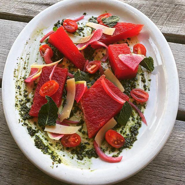 @onfortyone #onfortyone #onfortyonesc @brannonflorie #compressedwatermelon #basilpesto #mint #parmesan #pickledonion #watermelonradish