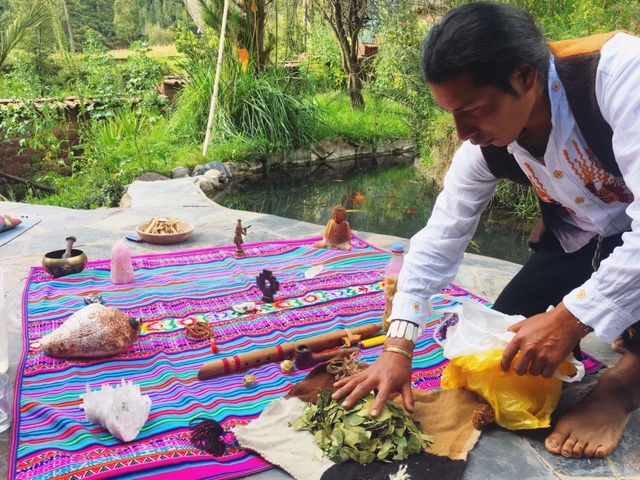 Starting a Peruvian Tezmacal ceremony in the Sacred Valley