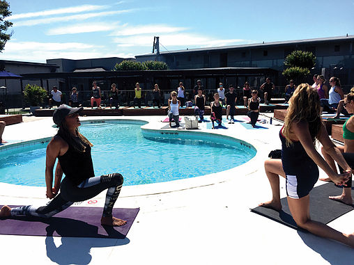 Yoga class at The Montauk Beach House with Reebok and Candice Kumai -