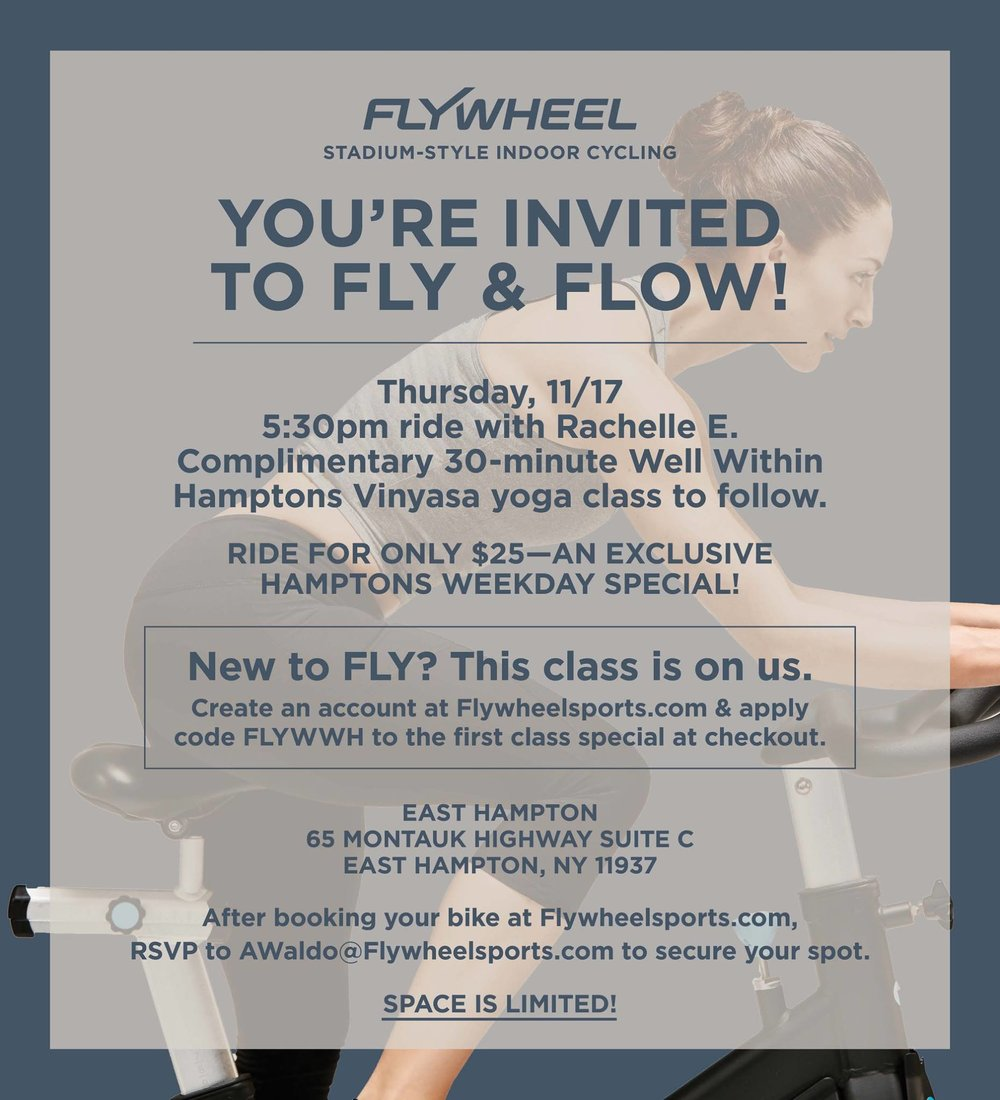 Fly Wheel Indoor Cycling   - Fly and Flow Yoga class after a ride.