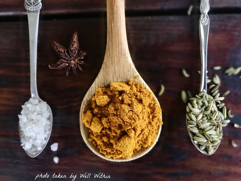 Rock Salt,Tumeric,Star Anise,Fennel   - Common Ayurvedic spices used in remedies and healing