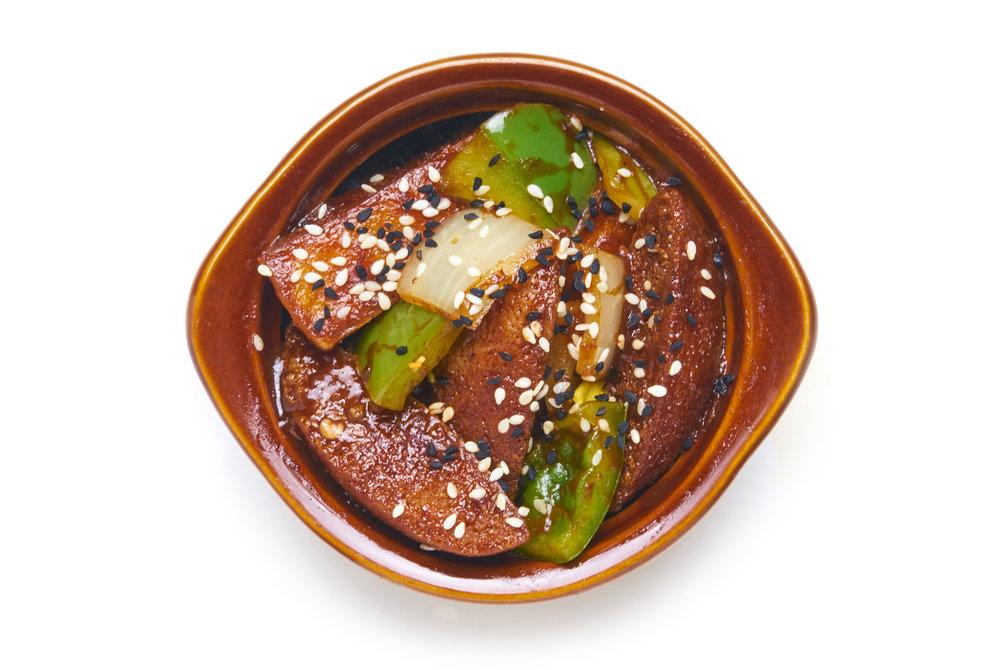 ANGRY IDLI MANCHURIAN   thrice cooked rice cake, hella hot indian-chinese sauce (V)