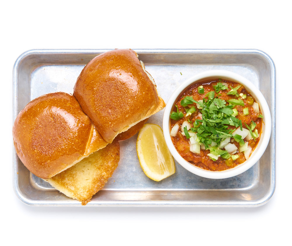PAV BHAJI   a mumbai street bhaji mash of seasonal veggies with pav bread (ask for no butter for V)