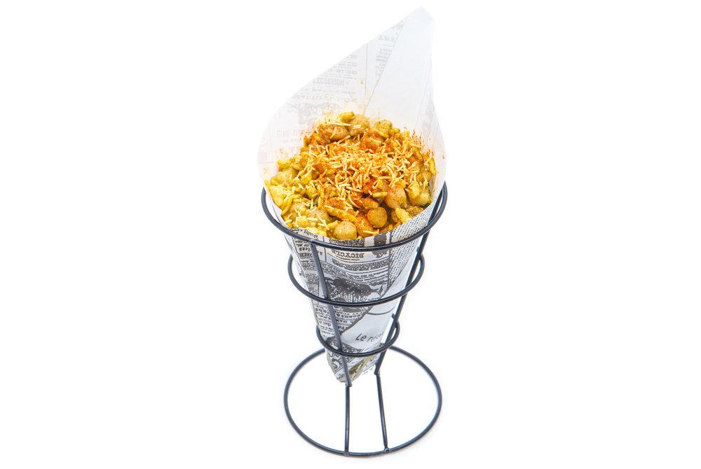 BHEL PURI puffed rice, potato garbanzo mash, cucumber, chutneys, crispy sev noodles