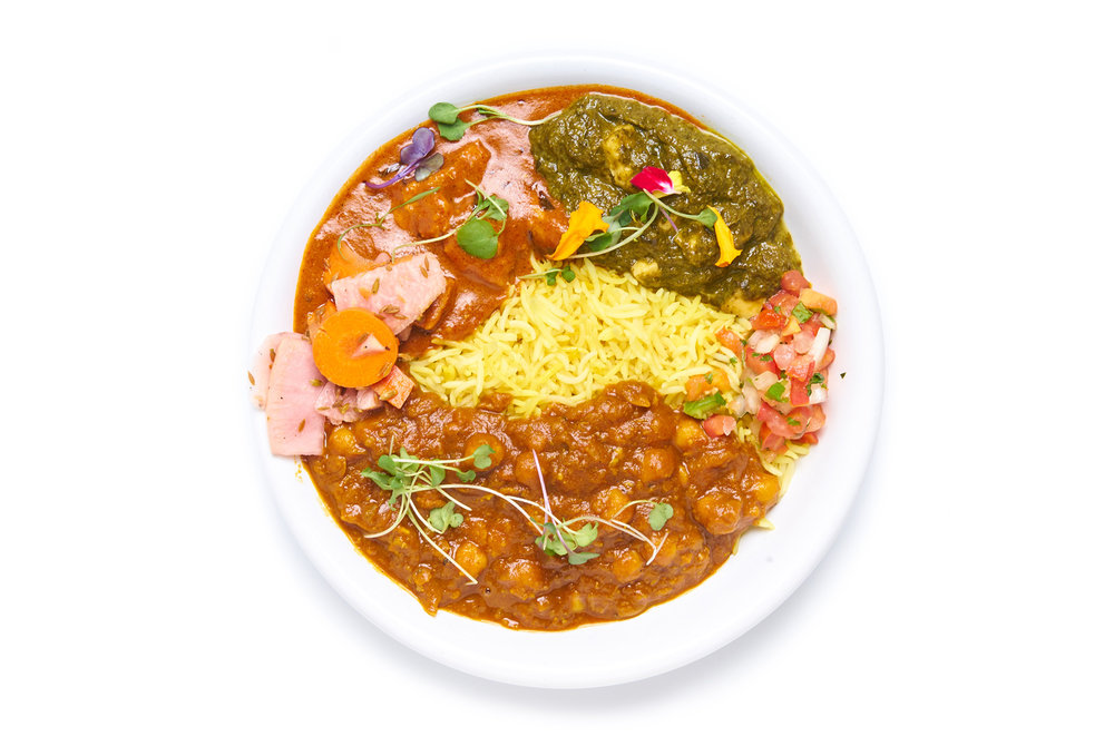 PUNJABI BY NATURE   saag paneer and tikka masala  choice of chicken or paneer (VG)