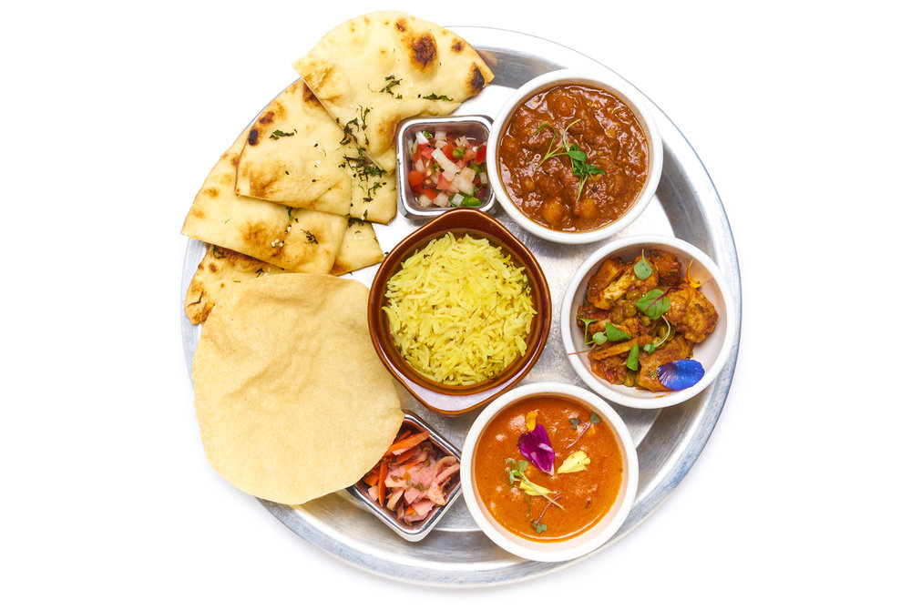 AMERICAN PUNJABI aloo gobi, chana masala or daal lentils choice of ghee makhni butter chicken or paneer (VG)