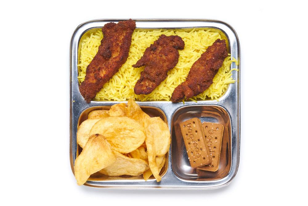 CHICKEN TENDERS housemade tenders on rice