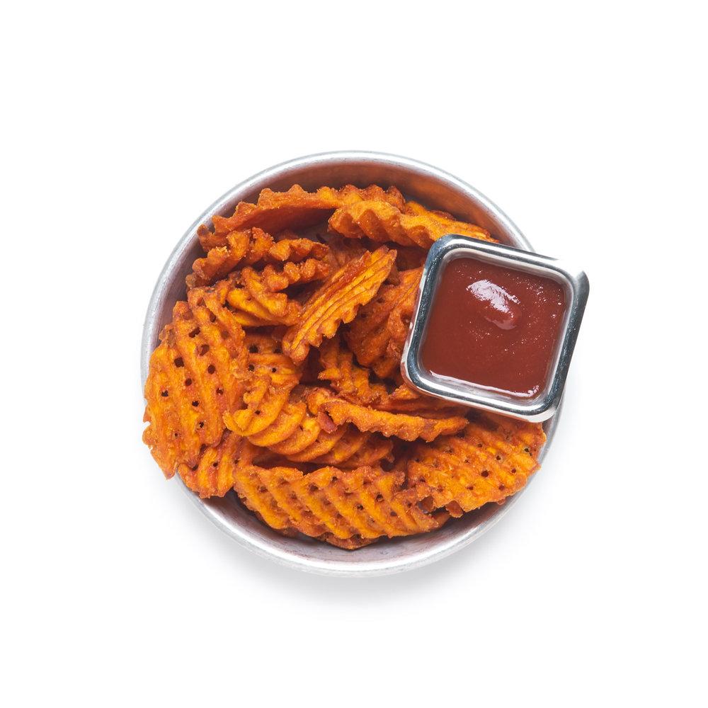 CRISS-CUT SWEET POTATO FRIES   side of maggi sweet & hot ketchup (GF, V)