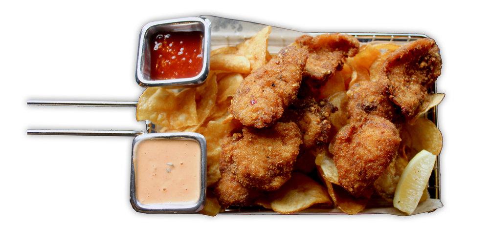 FISH & CHIPS   amritsari inspired fish & chips, sriracha tartar sauce