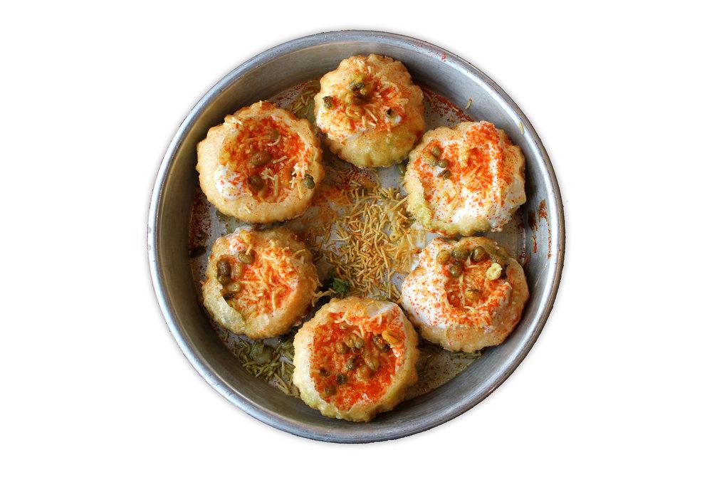 DAHI PURI   hollowed semolina puri, potato garbanzo mash, chaat masala yogurt (VG)