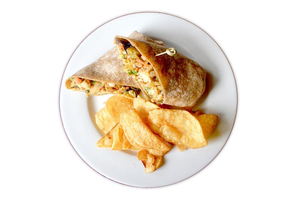WRAP & ROLL whole wheat tortilla, local organic seasonal greens, pico kachumber, cilantro chutney aloo gobi (V), chicken or free range plant protein (V)