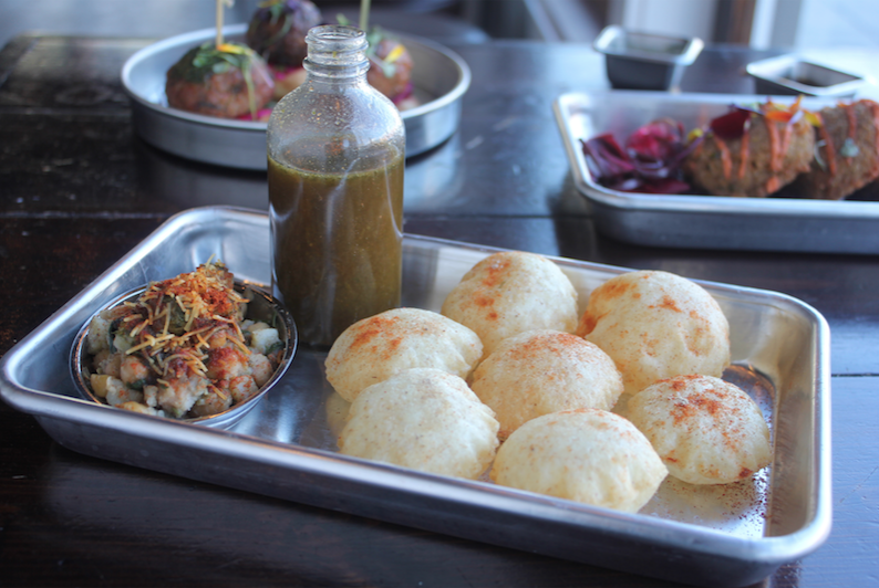 FINGER LICKIN' STREET FOOD    $16/person  curry up now's answer to happy hour snacks.these Indian street food favorites, known as chaat, are a little adventurous and super tasty! assembly instructions included.    you'll get all the fixin's to assemble:  vada pav (VG) papdi chaat (VG) naan bits w/tikka masala (VG) pani puri gol gappa (V) mini samosa chaat (VG)
