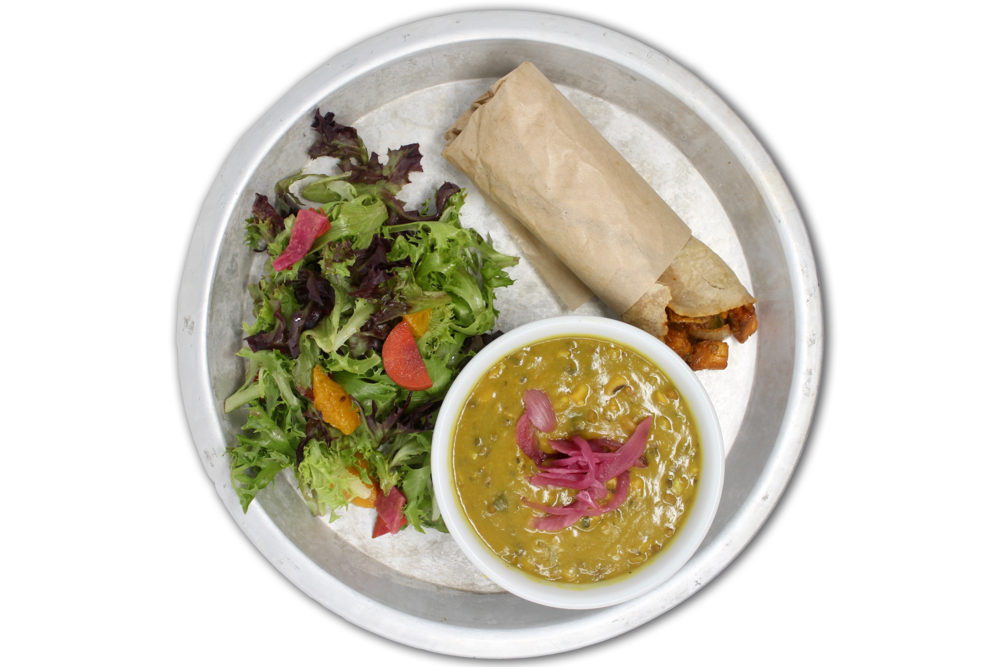 SOUP N' ROLL   choice of chicken, paneer (VG) or hungry planet plant protein (V) wrapped in a tortilla, daal lentil soup, local organic greens