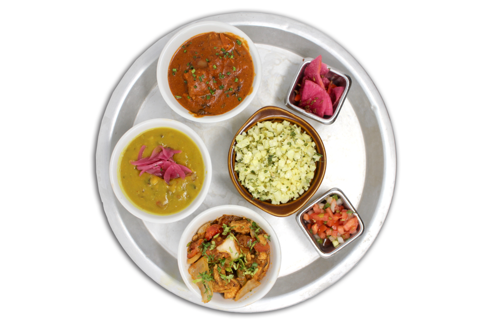 LITE THALI   riced cauliflower, daal lentils, kadhai chicken or hungry planet plant protein (V), chicken tikka masala or paneer tikka masala (VG), pico & pickles