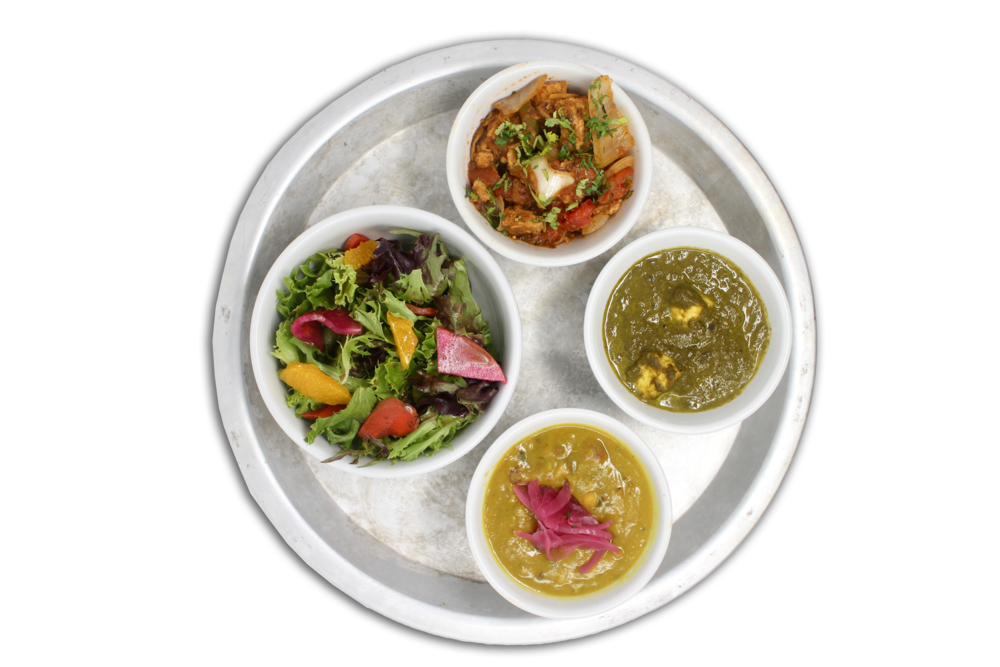 #KARMAPROTEIN   bowls of daal lentils, saag paneer, hungry planet plant protein, local organic greens