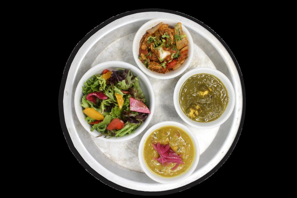 #KARMAPROTEIN   bowls of daal lentils, saag paneer, free range plant protein, local organic salad (VG)