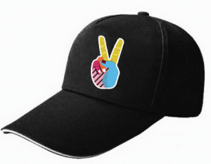 Black Peace Sign / Indian Street Food Cap