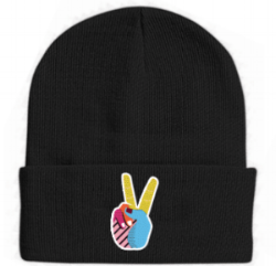 Black Peace Sign / Indian Street Food Beanie