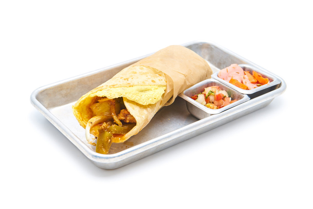 KATHI ROLL   Ask to make it (GF)  |  Ask for no egg for (V) egg washed gluten-free tortilla, onions, cilantro chutney, housemade potato crisps & pico   choice of paneer (VG), aloo gobi (VG), chicken or lamb