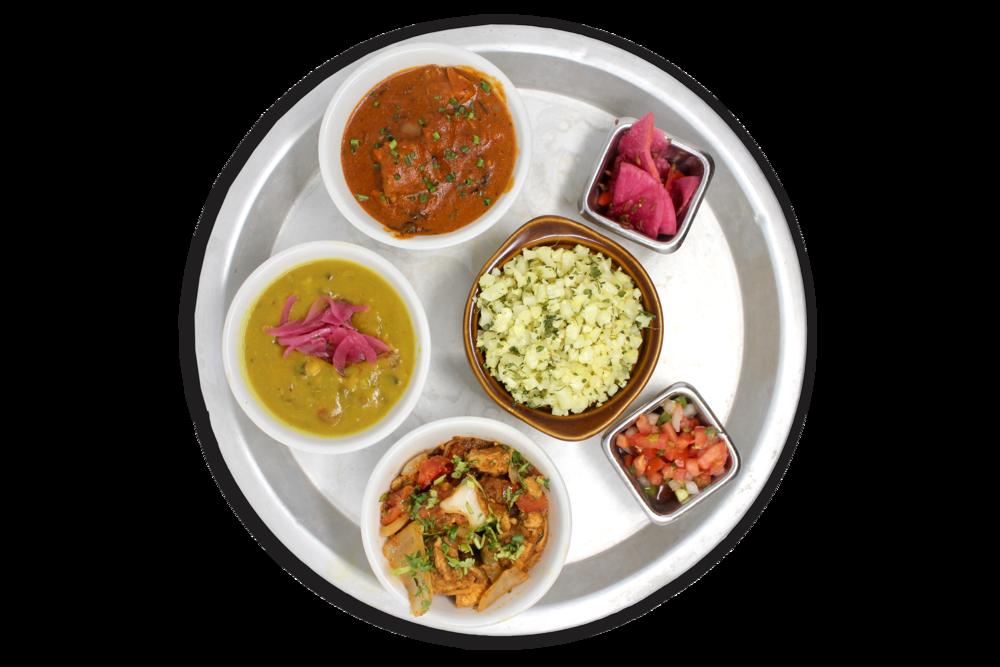 LITE THALI   riced cauliflower, daal lentils, pico & pickles  choice of two: aloo gobi (V), butter paneer (VG), kadhai chicken, butter chicken