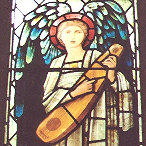 Mary Gladstone, one of two 'Angel Musicians', Church of St Deiniol, Hawarden, Flintshire, Wales. Design by Edward Coley Burne-Jones, executed by Morris & Co., 1911. Photo by Phyllis Weliver.