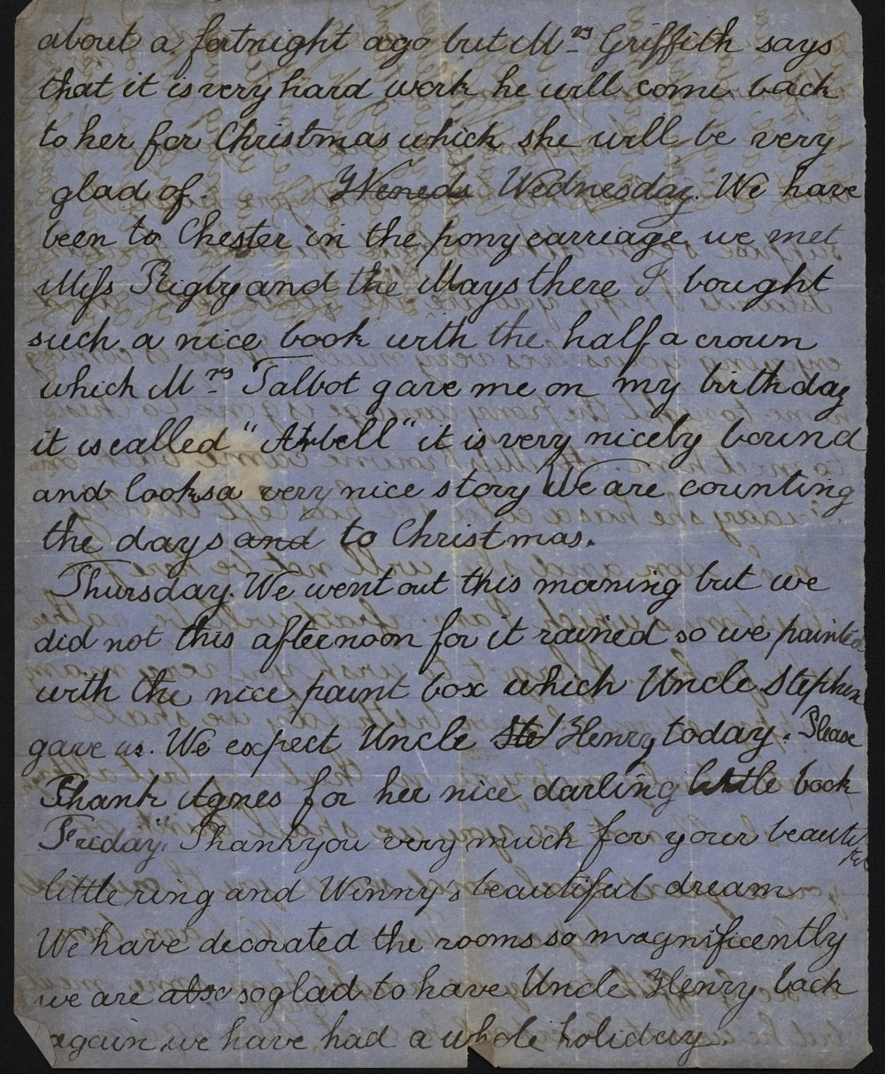Mary Gladstone to Catherine Gladstone, 19 and 20 December 1858. GG 759. All manuscript images used with permission. The transcription of the letter appears in full at the end of the post..