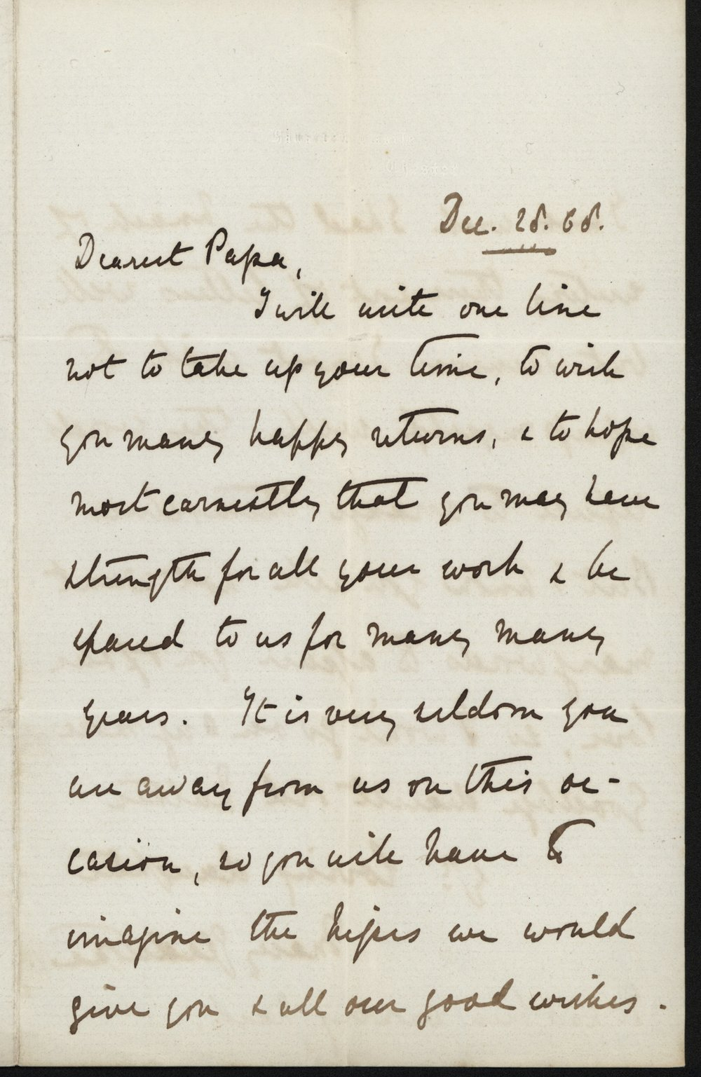 Mary Gladstone to W.E. Gladstone, 28 December 1868, GG 603. Transcription below.