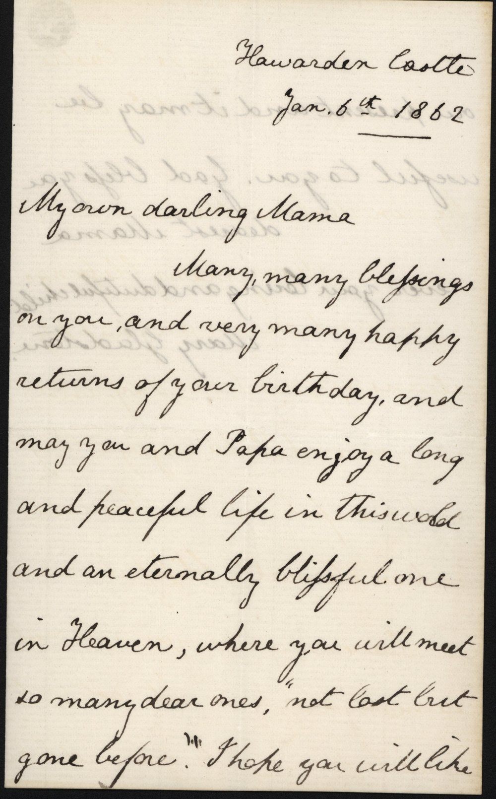 Mary Gladstone to Catherine Gladstone,6 January 1862 GG 759. Transcription below.