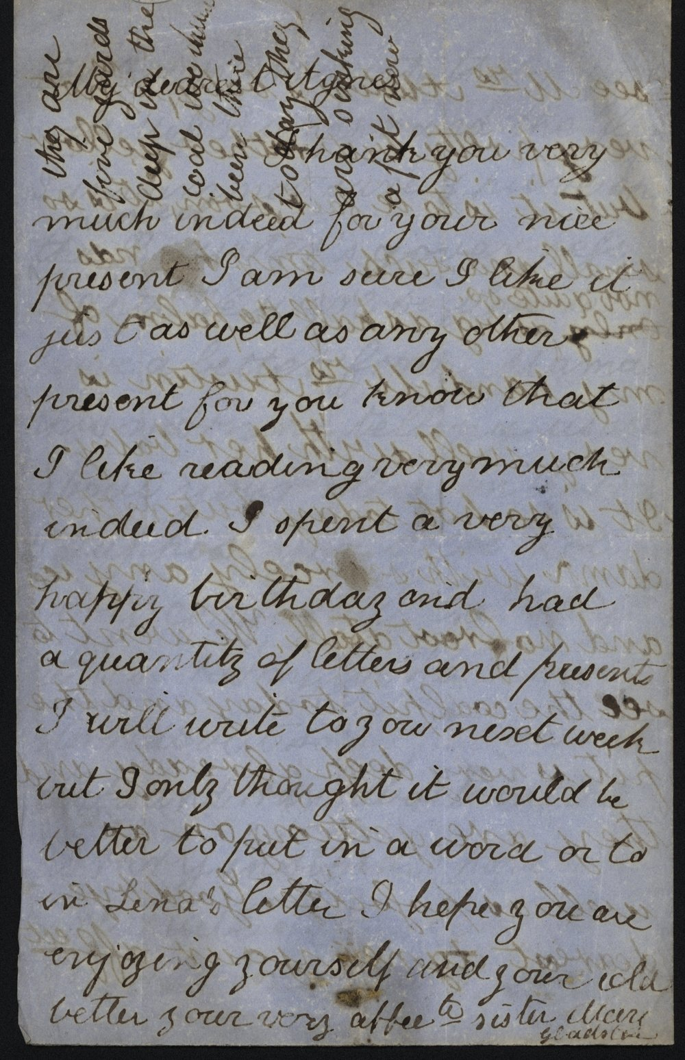 Mary Gladstone to Agnes Gladstone, [after 23 November 1858] Flintshire Record Office, GG 981.