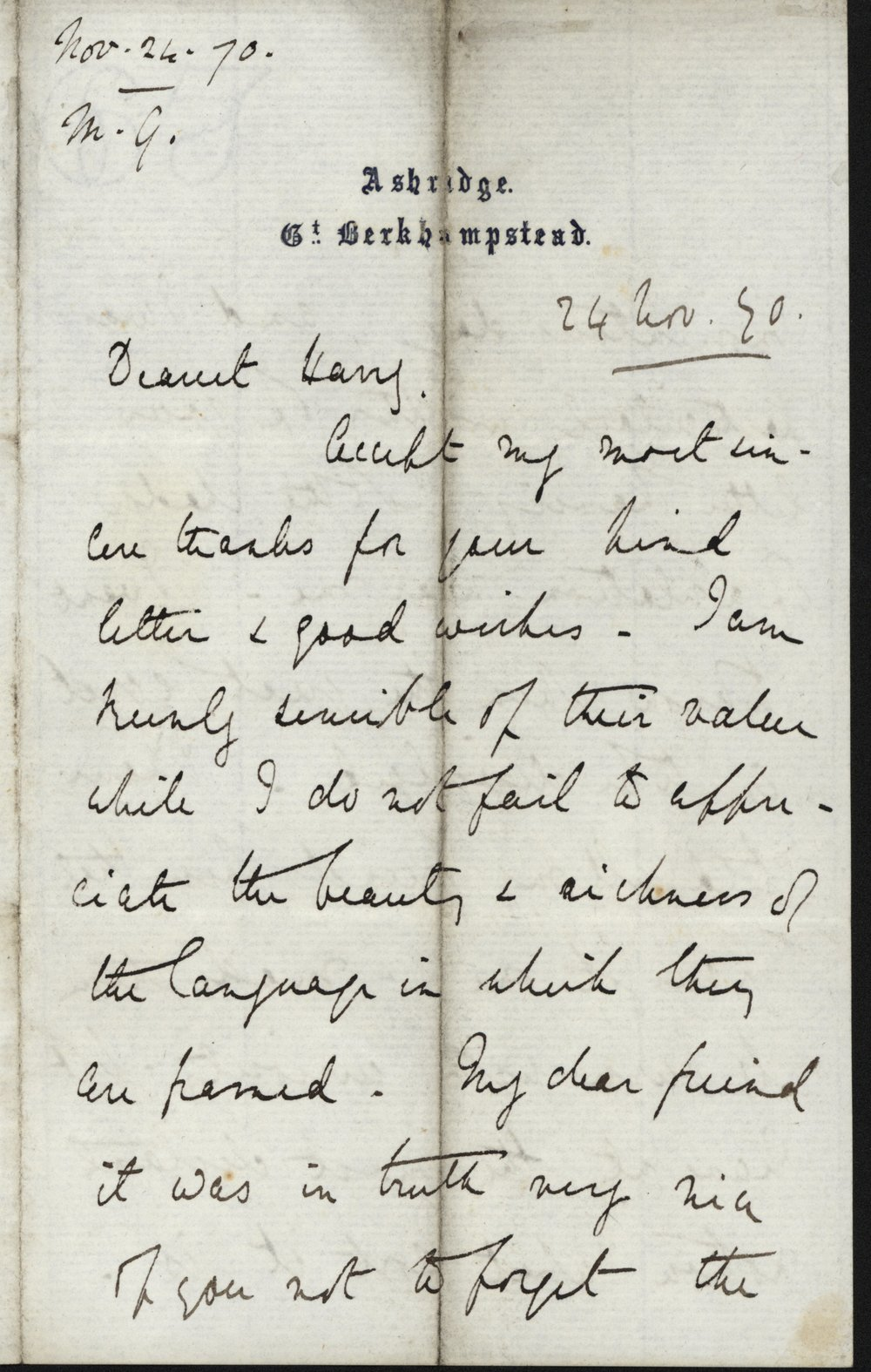 Mary Gladstone to Henry Neville Gladstone, 24 November 1870, GG 848. All images used with permission. See the end of the post for the transcription.