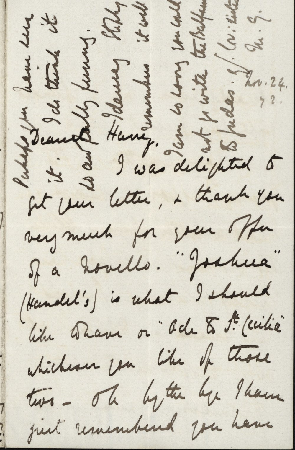 Mary Gladstone to Henry Neville Gladstone, 24 November 1872. The Flintshire Record Office, GG 848. All images used with permission. See the end of the post for the transcription.
