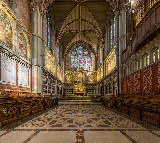 Keble College Chapel, choir and sanctuary, facing east (interior). Photo by DAVID ILIFF. License:  CC-BY-SA 3.0