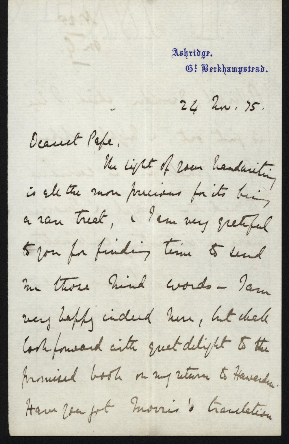 Mary Gladstone to W.E. Gladstone, 24 November 1875. The Flintshire Record Office, GG 603. All images used with permission. See the end of the post for the transcription.