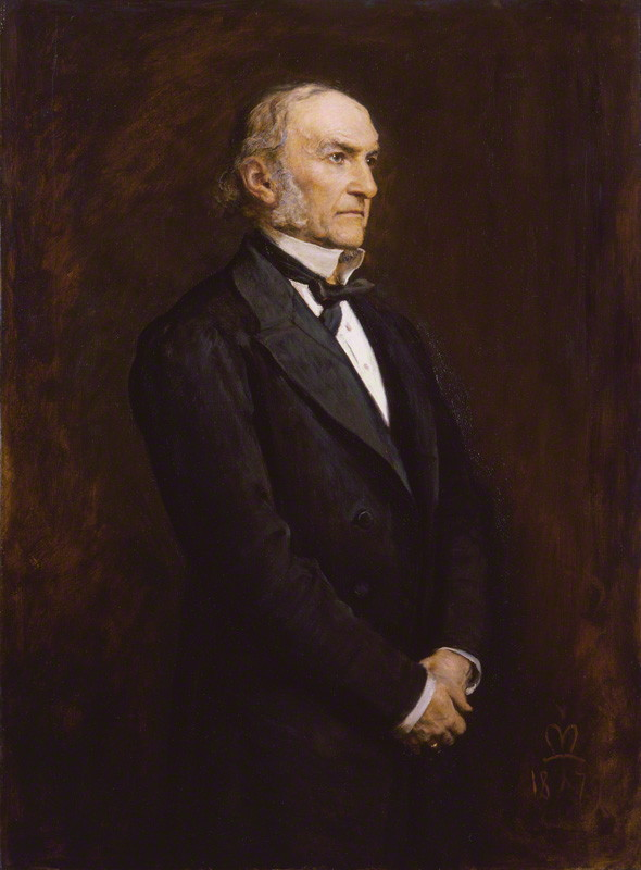 William Ewart Gladstone by Sir John Everett Millais, 1st Bt. Oil on canvas, 1879. 49 1/2 in. x 36 in. (1257 mm x 914 mm). Transferred from Tate Gallery: London: UK, 1957. NPG 3637.  License :  CC-BY-SA 3.0