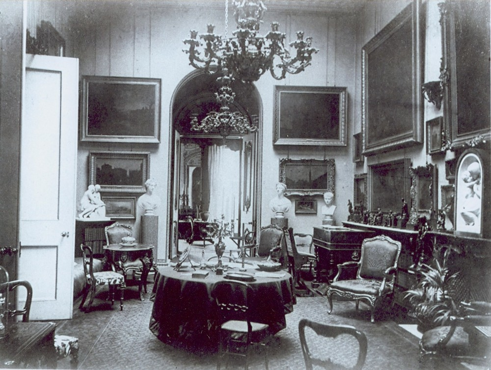 Music room seen through the door of the first floor gallery, 11 Carlton House Terrace. Unknown date.Photo used by kind permission of the British Academy.