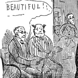 "Detail of ""Very Odd!""  Punch, XXIV , New Library Series (London: Punch, 1853-54) 120.  Google Books . Public domain. Non-commercial use."