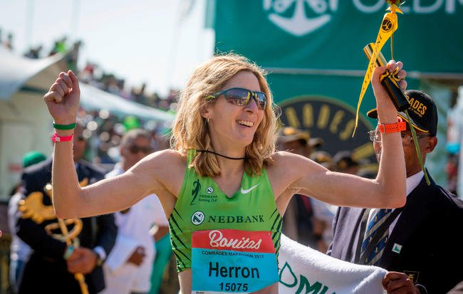 Camille Herron crossing the finish line at the 2017 Comrades Marathon. She set a world record on Saturday at the Tunnel Hill 100.RAJESH JANTILAL/GETTY IMAGES