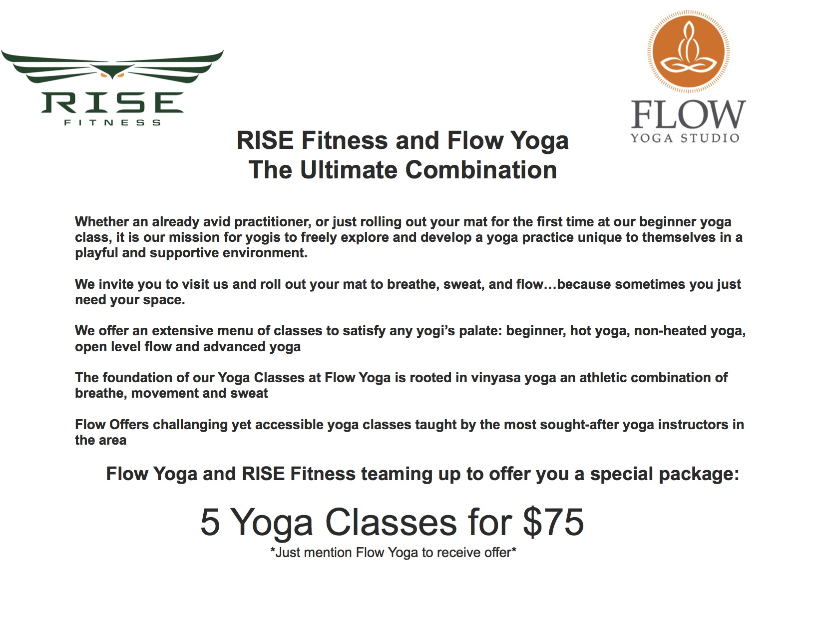 Rise and Flow Yoga are Teaming Up!