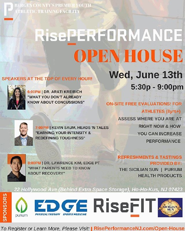 This Wednesday, @riseperformancenj will be having an open house from 5:30-9pm! Link in bio to register!