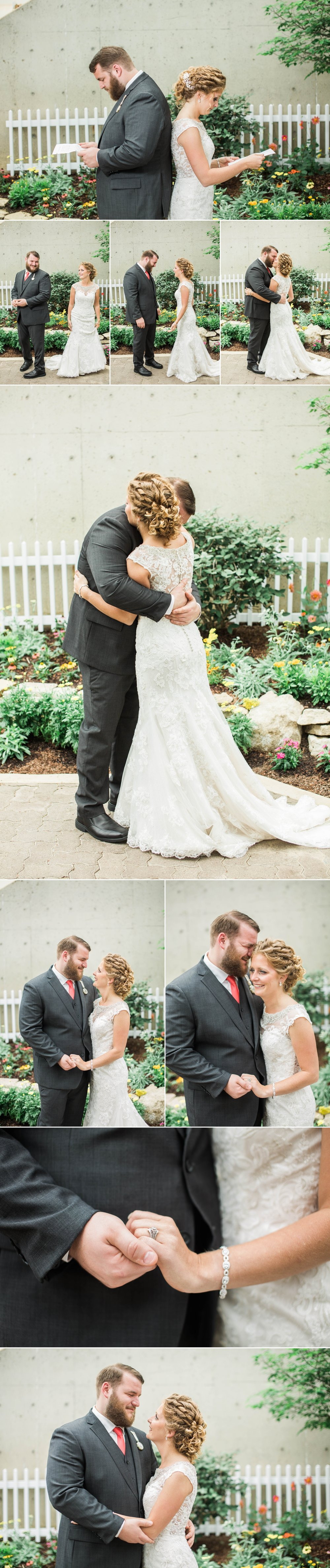 first look - bride and groom - botanical gardens