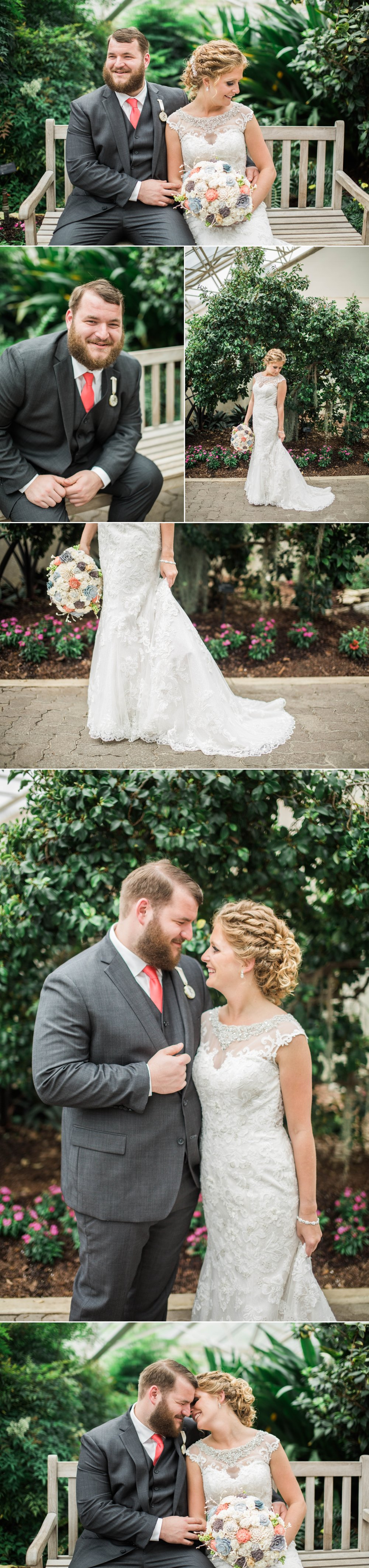 bride - groom - wedding day - botanical gardens