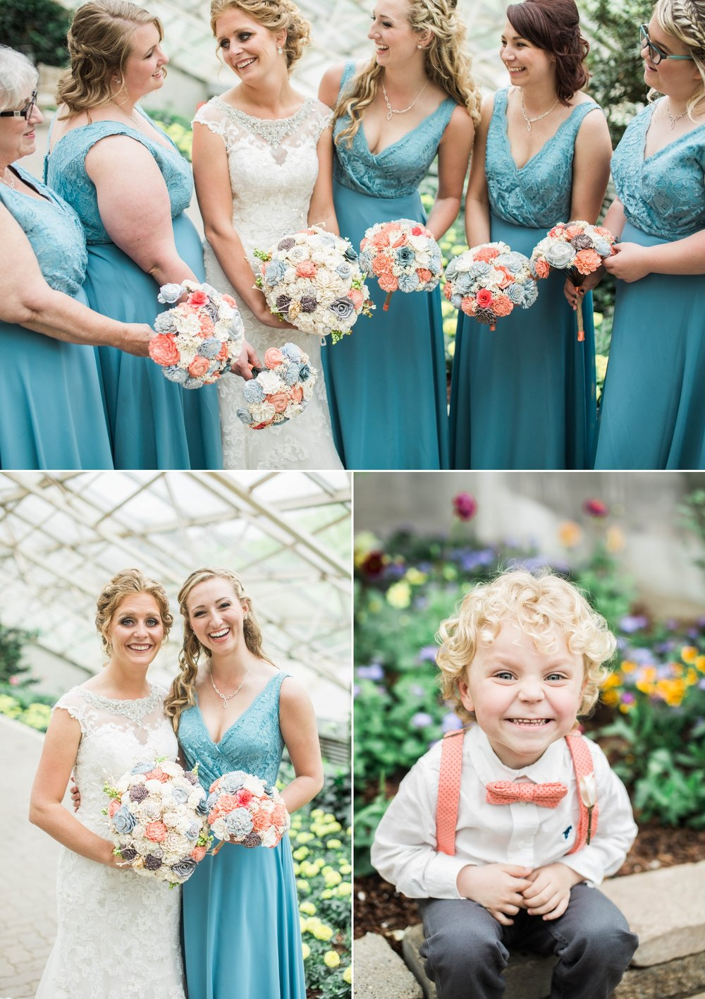bride - wedding day - bridesmaids - ringbearer - botanical gardens