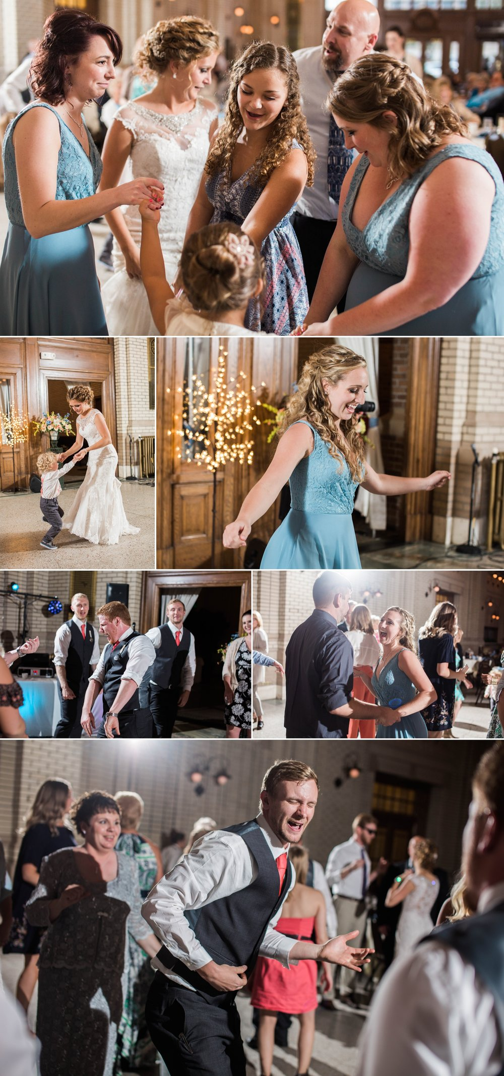 wedding - reception - train station - bride - groom - dance