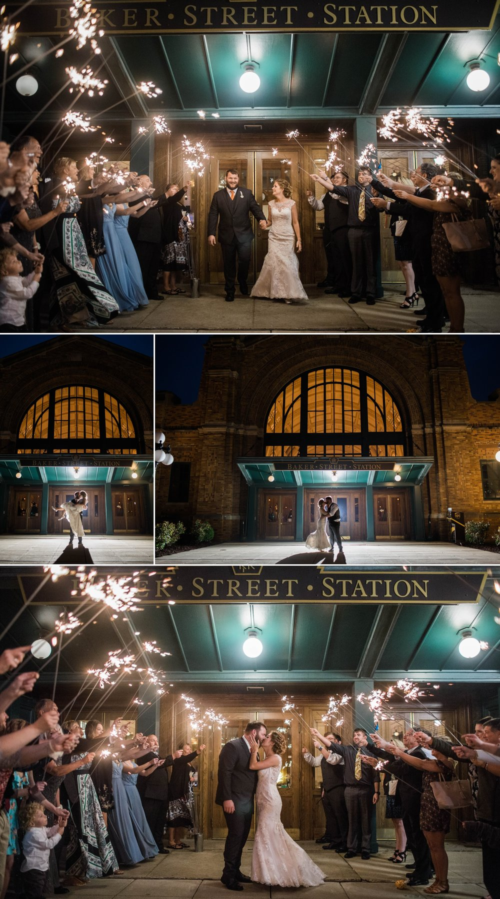 wedding - wedding day - reception - sparkler exit - train station - bride - groom