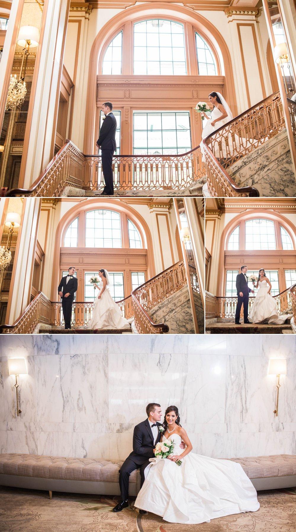 wedding-wedding day-bride-groom-first look-indianapolis-the omni
