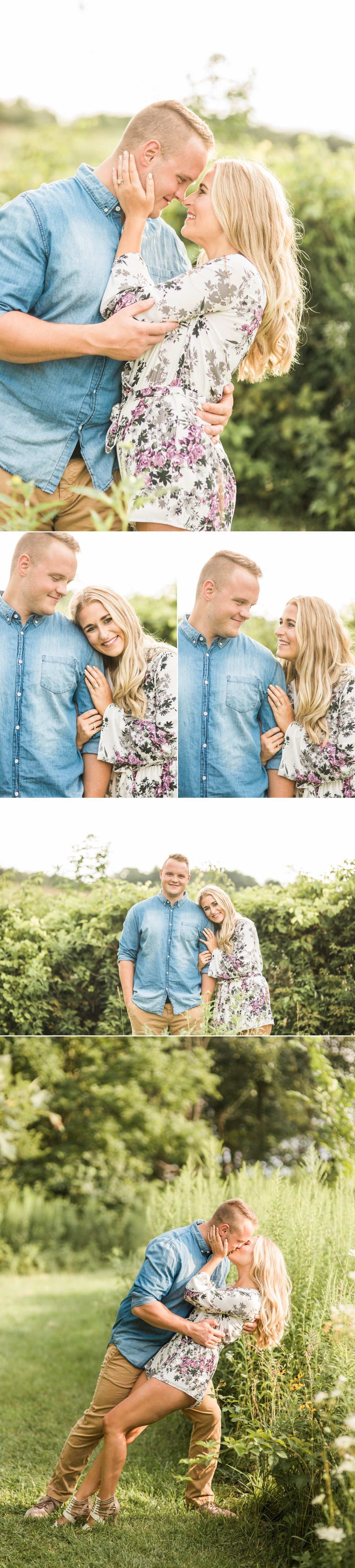 engagement session-field-summer-love-flowers-kiss-park-country-fort wayne-indiana