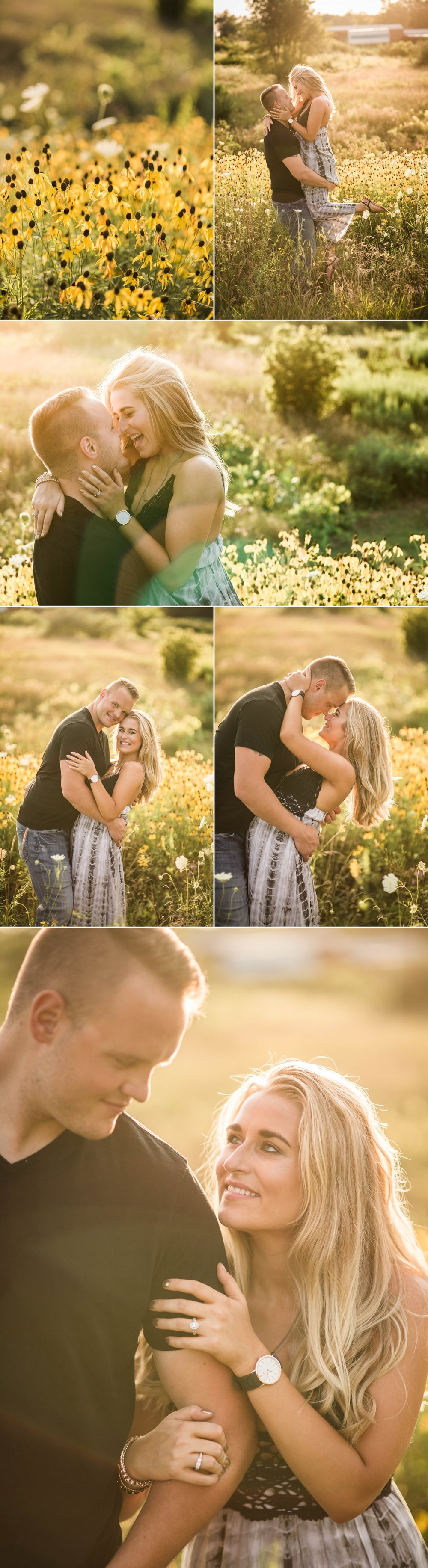 engagement session-field-summer-love-sunset-kiss-park-country-fort wayne-indiana