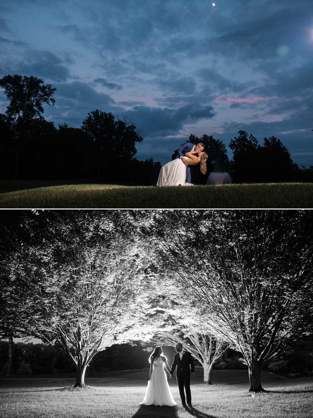 bride groom indiana wedding night photography sunset off camera flash OCF